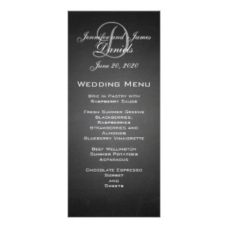Chalkboard Monogram Wedding Menu Card Customized Rack Card