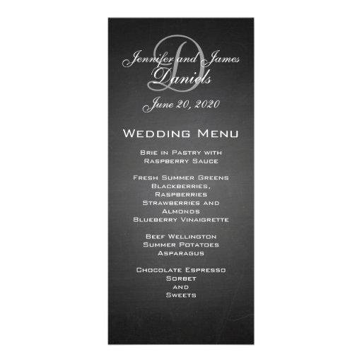 Chalkboard Monogram Wedding Menu Card Rack Card