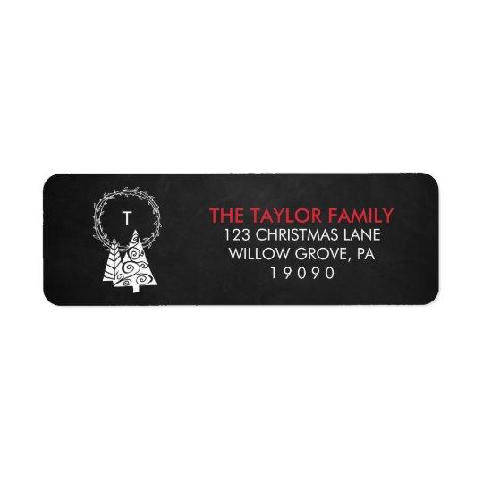 Chalkboard Monogram Wreath Christmas Return Address Label