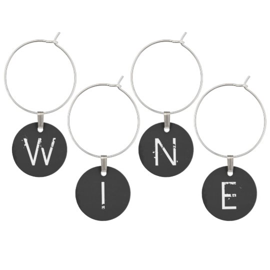 Chalkboard Monogrammed Personalised Wine Glass Charms