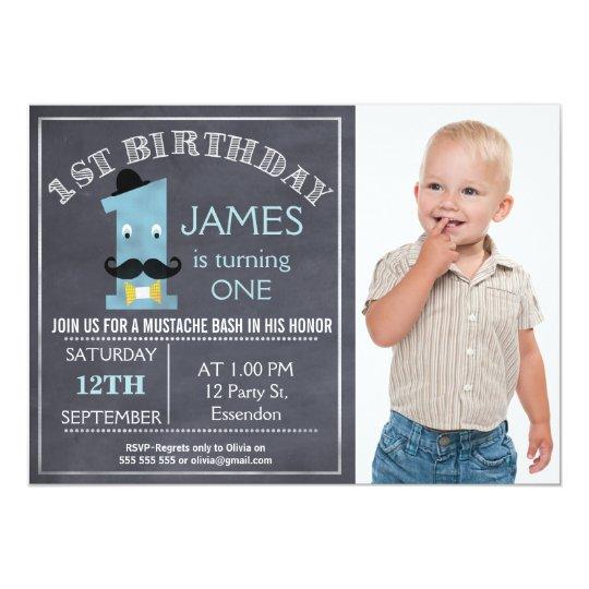 Chalkboard moustache 1st Birthday Party Invitation