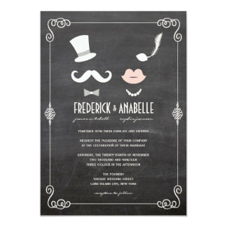 Chalkboard Moustache & Lips Vintage Wedding Invite