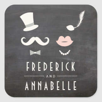 Chalkboard Mr & Mrs Moustache Lips Vintage Wedding Square Sticker