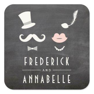 Chalkboard Mr &  Mrs Moustache Lips Vintage Wedding