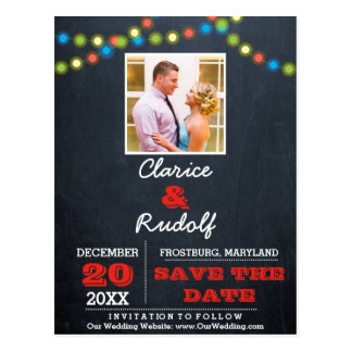 Chalkboard Multi Lights Red Wedding Save the Date Postcard