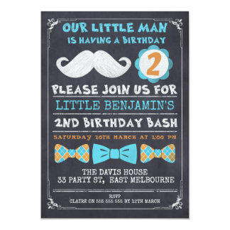 Chalkboard Mustache 2nd Birthday Invitation