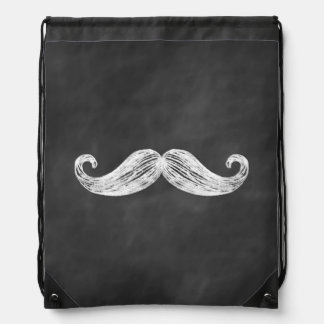 Chalkboard Mustache Drawstring Backpack