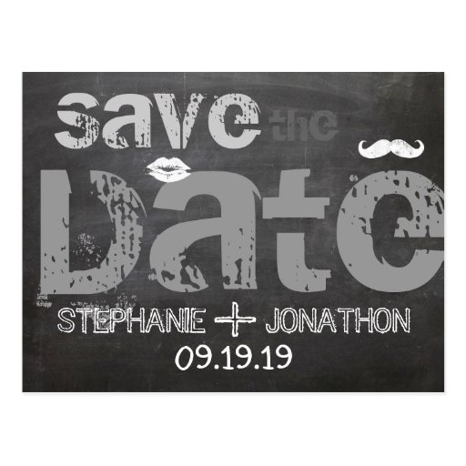 Chalkboard Mustache Lips Vintage Save the Date Post Cards   Zazzle.