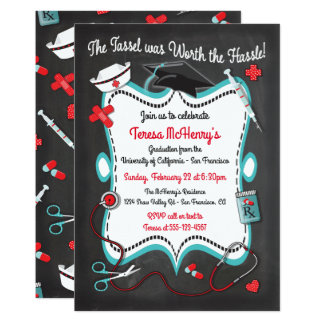 Chalkboard Nurse Medical Graduation Invitation
