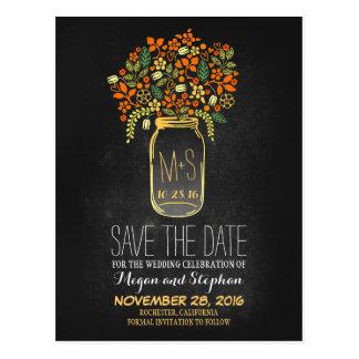 Chalkboard orange save the date - Floral Mason Jar Postcard