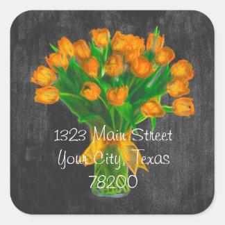 Chalkboard Orange Tulips Address Label Square Sticker