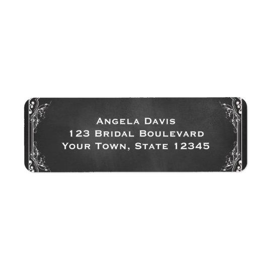 Chalkboard, Ornate White Frame Return Address Label