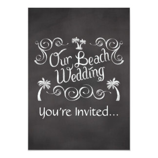 Chalkboard Our Beach Wedding Card