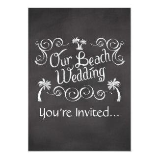 Chalkboard Our Beach Wedding 13 Cm X 18 Cm Invitation Card