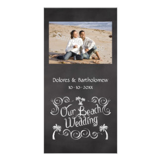 Chalkboard Our Beach Wedding Picture Card