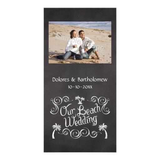 Chalkboard Our Beach Wedding Photo Card