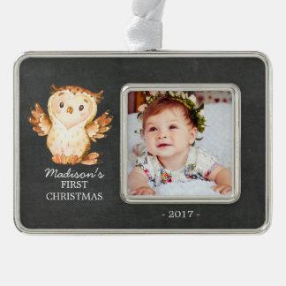 Chalkboard Owl  1st Christmas Photo Ornament