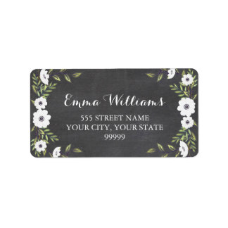 Chalkboard Painted Anemones - address labels
