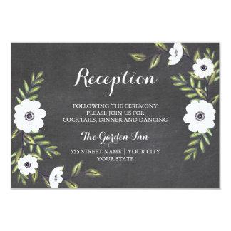 Chalkboard Painted Anemones - Reception card 9 Cm X 13 Cm Invitation Card