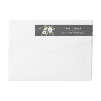 Chalkboard Painted Anemones return address label