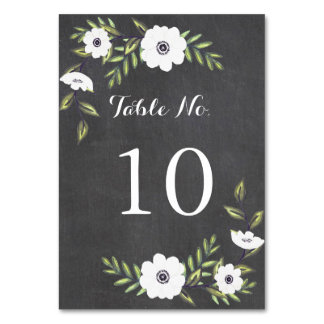 Chalkboard Painted Anemones - Table Number