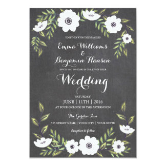 Chalkboard Painted Anemones - wedding invitation