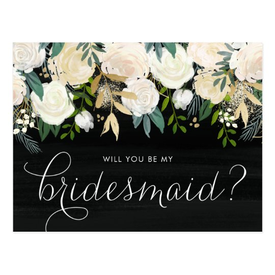 Chalkboard Pale Peonies Will You Be My Bridesmaid