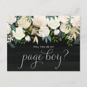 Chalkboard Pale Peonies Will You Be My Page Boy Invitation Postcard