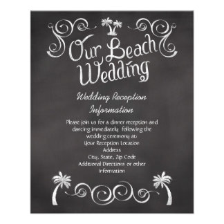 Chalkboard Palm Tree Beach Wedding Insert 11.5 Cm X 14 Cm Flyer