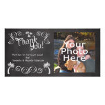 Chalkboard Palm Tree Beach Wedding Photo Thank You Personalised Photo Card