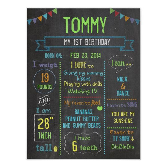 Chalkboard Party personalised boy birthday poster