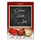 Chalkboard Peace, Love, Joy Christmas Card