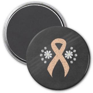 Chalkboard Peach Ribbon 7.5 Cm Round Magnet