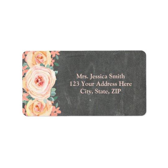 Chalkboard Peach Watercolor Floral Return Address Label