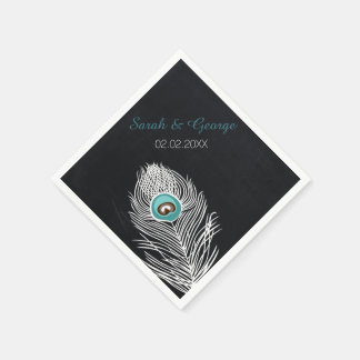 chalkboard peacock personalized wedding napkins paper serviettes