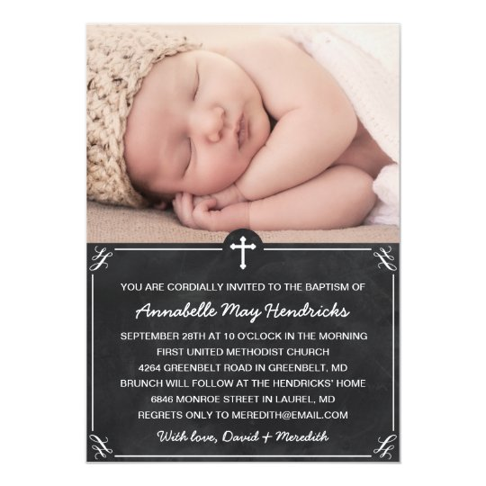 Chalkboard Photo Baptism/Christening Invitation