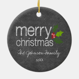 Chalkboard Photo Collage Merry Christmas Holly Christmas Ornament