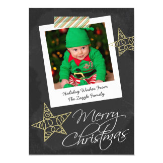 "Chalkboard Photo Frame And Tape Christmas 5"" X 7"" Invitation Card"