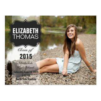 Chalkboard Photo Graduation Party Announcement Postcard
