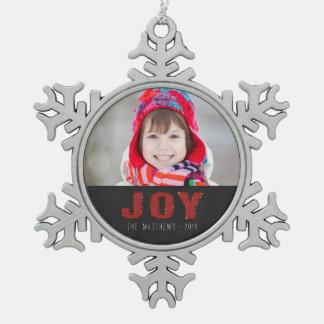 Chalkboard Photo Holiday Greeting | Red Joy Pewter Snowflake Decoration
