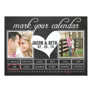 Chalkboard Photo Save the Date Calendar Card