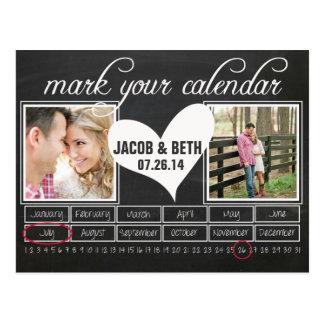 Chalkboard Photo Save the Date Calendar Postcard