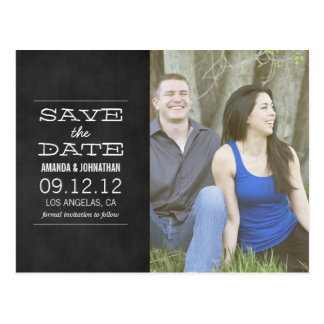 Chalkboard Photo Save The Date Post Cards