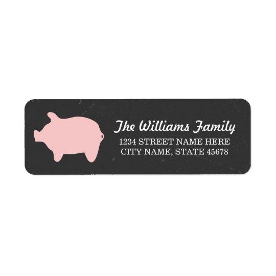 Chalkboard Piggie Address Labels / Pink