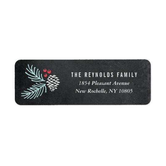 Chalkboard Pine and Berries Return Address Labels