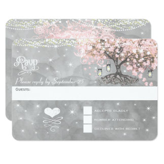 Chalkboard Pink Heart Leaf Tree RSVP Card