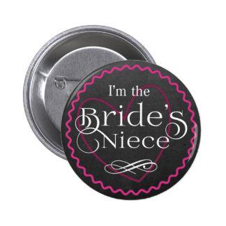 Chalkboard Pink Heart Wedding | Bride's Niece 6 Cm Round Badge