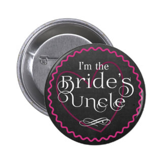 Chalkboard Pink Heart Wedding | Bride's Uncle 6 Cm Round Badge