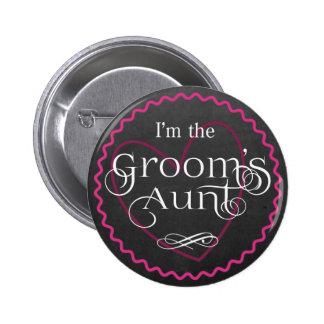 Chalkboard Pink Heart Wedding   Groom's Aunt 6 Cm Round Badge