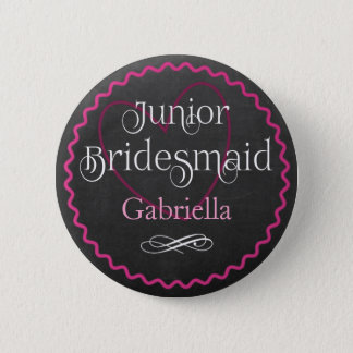 Chalkboard Pink Heart Wedding | Junior Bridesmaid 6 Cm Round Badge